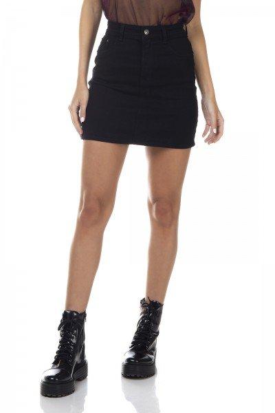 dz7144 saia jeans feminina tubinho black and white preto denim zero frente prox