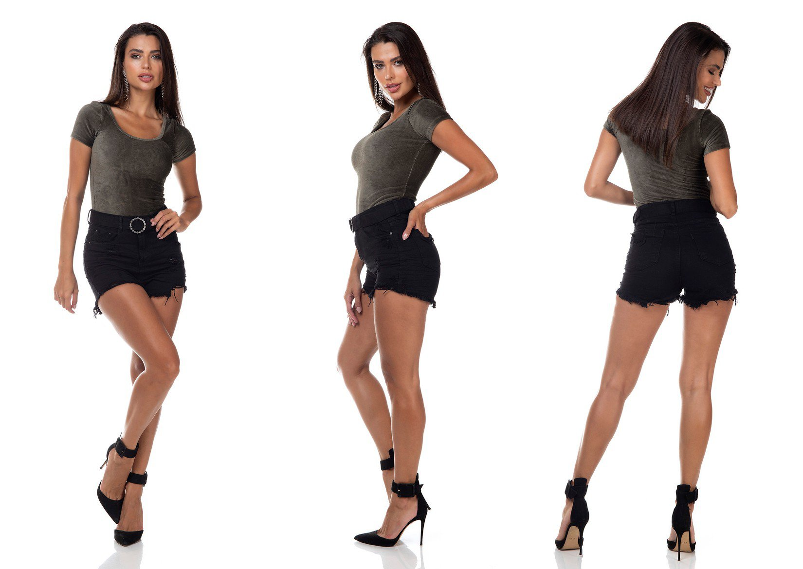 dz6387 shorts jeans feminino setentinha black and white cinto com strass preto denim zero tripla