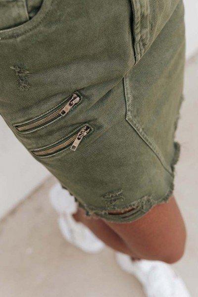 dz 1048 saia jeans feminina regular verde militar denim zero frente prox