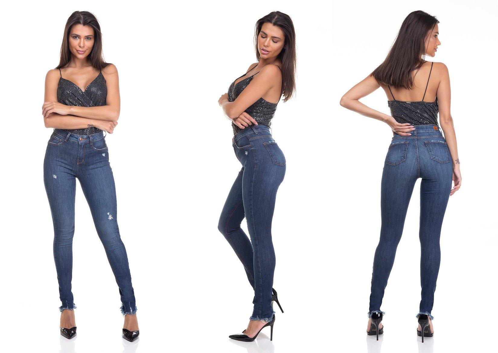 dz3365 calca jeans feminina skinny media barra desfiada denim zero tripla
