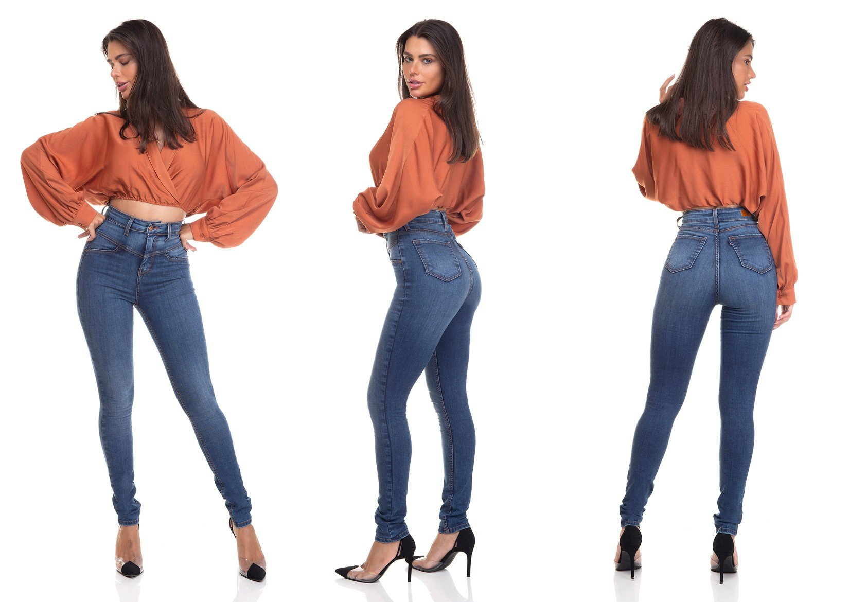 dz3379 calca jeans feminina skinny hot pants recorte frontal denim zero tripla