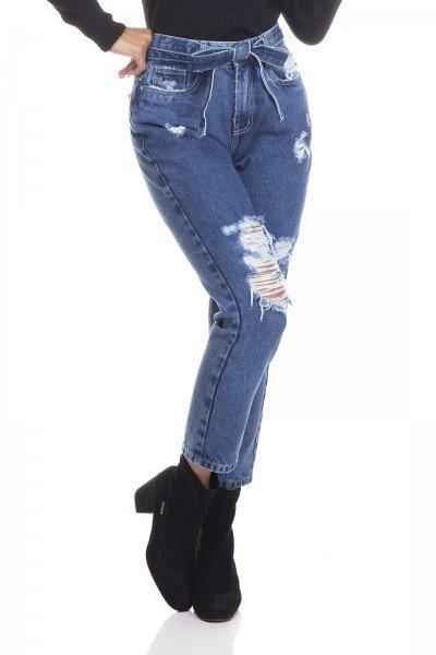 dz3390 calca jeans feminina mom cropped com cinto denim zero frente prox