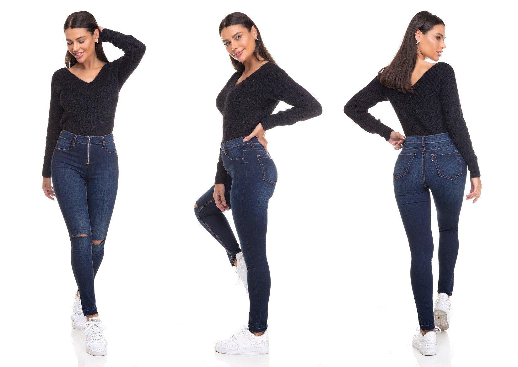 dz3378 calca jeans feminina skinny media cigarrete ziper frontal denim zero tripla