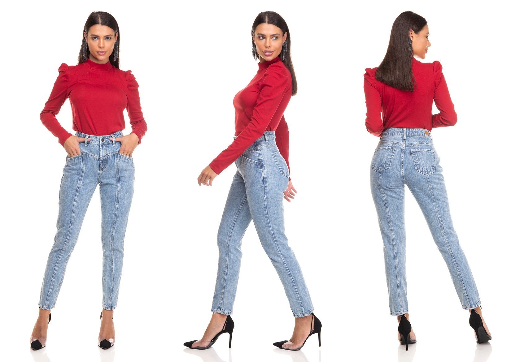 dz3389 calca jeans feminina mom com recortes denim zero tripla