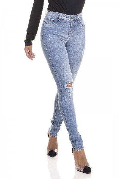 dz3424 calca jeans feminina skinny media rasgo no joelho denim zero frente prox