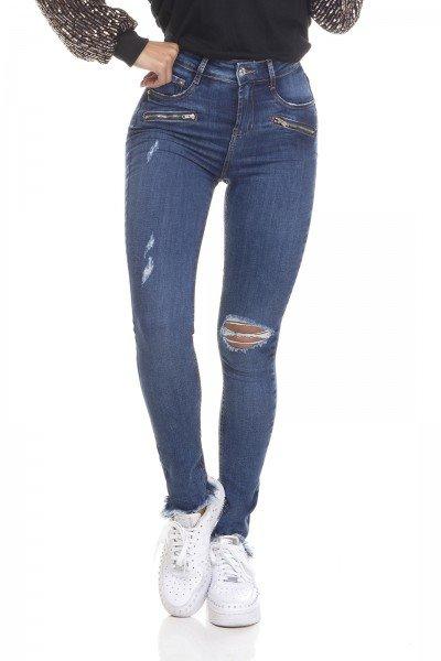 dz3319 calca jeans feminina skinny media cigarrete barra desfiada denim zero frente prox