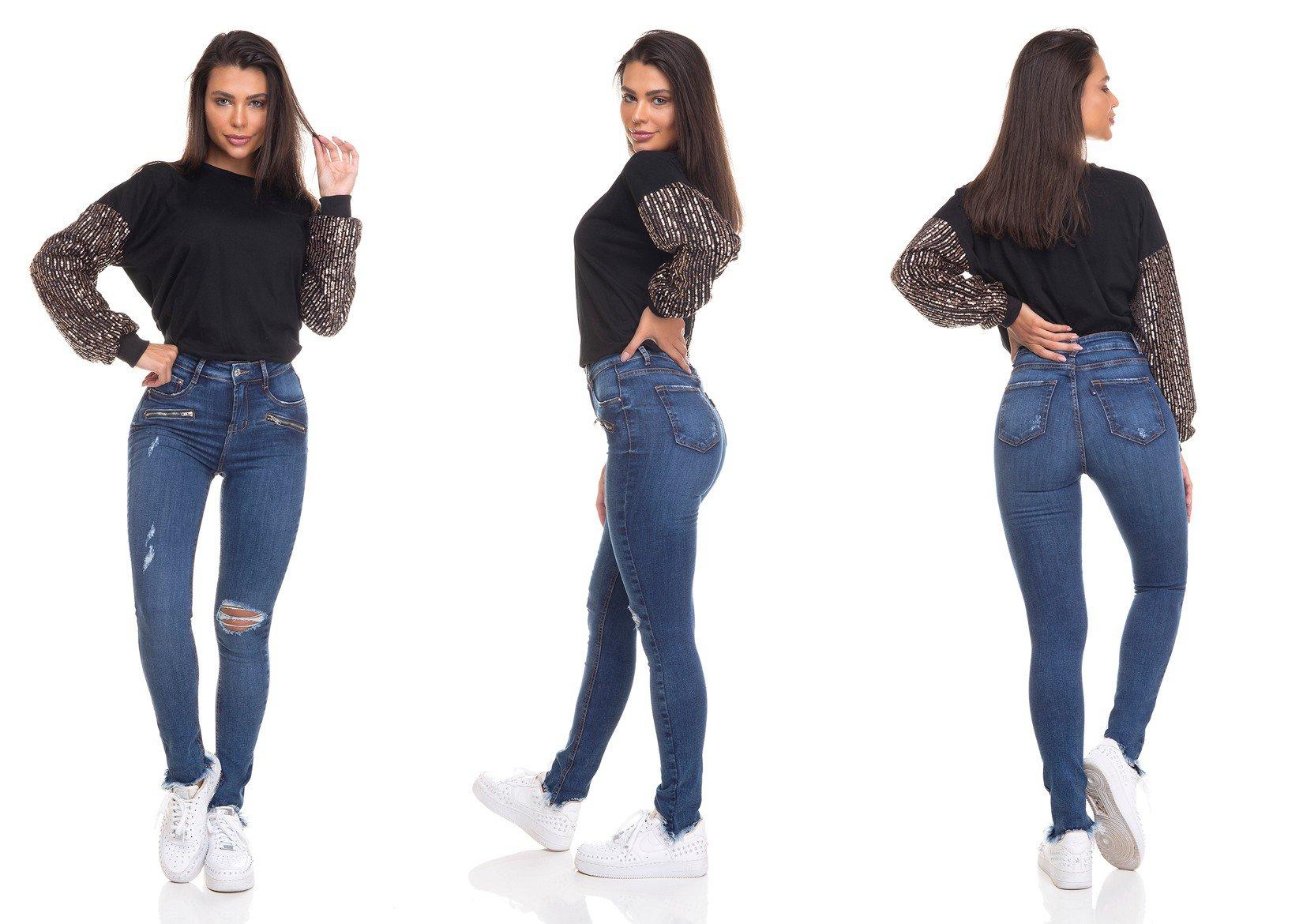 dz3319 calca jeans feminina skinny media cigarrete barra desfiada denim zero tripla