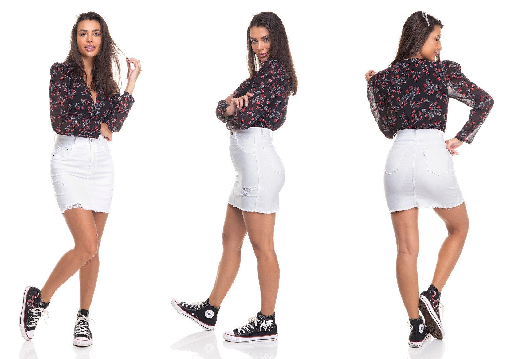 dz7154 saia jeans feminina tubinho black and white branco denim zero tripla