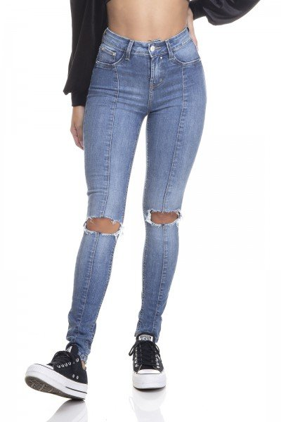 dz3371 calca jeans feminina skinny media recorte frontal denim zero frente prox