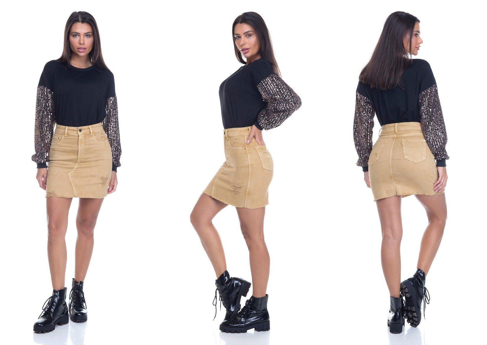dz7153 saia jeans feminina tubinho colorida amarelo militar denim zero tripla