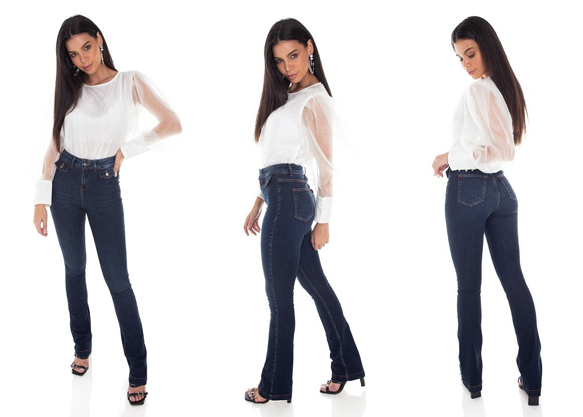 dz3414 calca jeans feminina boot cut bolsos diferenciados denim zero tripla