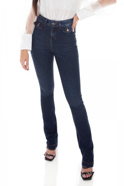 dz3414 calca jeans feminina boot cut bolsos diferenciados denim zero frente prox
