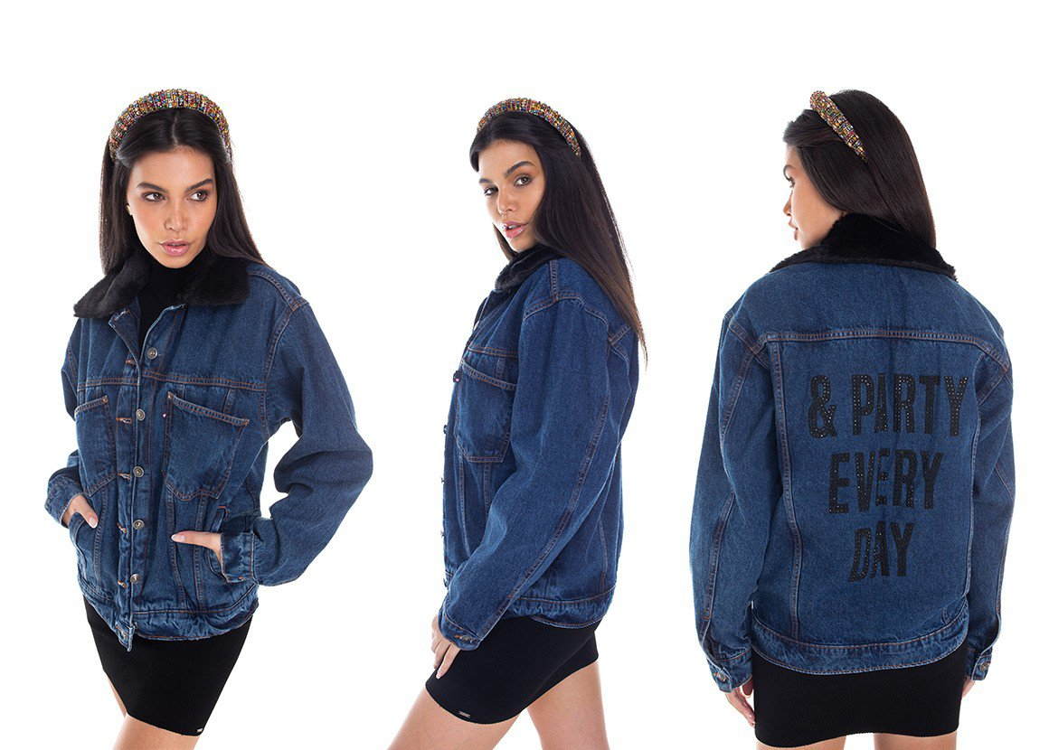 dz9111 jaqueta jeans feminina 80 s estampada denim zero tripla