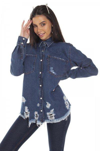 dz11148 camisa jeans feminina oversize barra destroyed denim zero frente prox