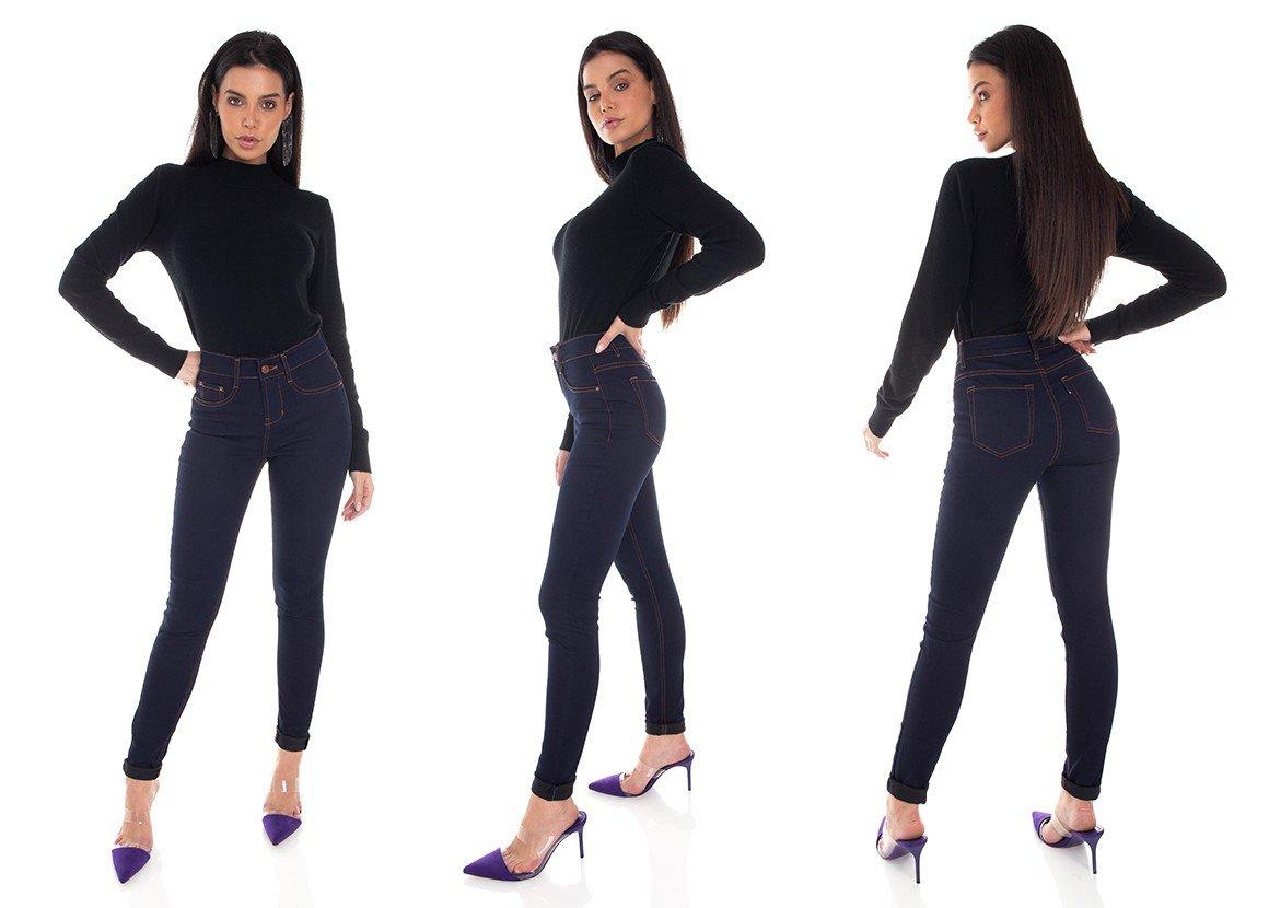 dz3451 calca jeans feminina skinny media tradicional denim zero tripla