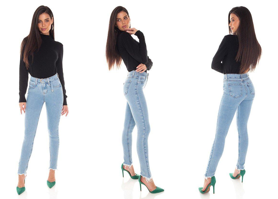 dz3377 calca jeans feminina skinny media cigarrete com cinto denim zero tripla