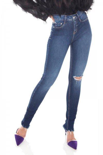 dz3392 calca jeans feminina skinny media rasgo joelho denim zero frente prox