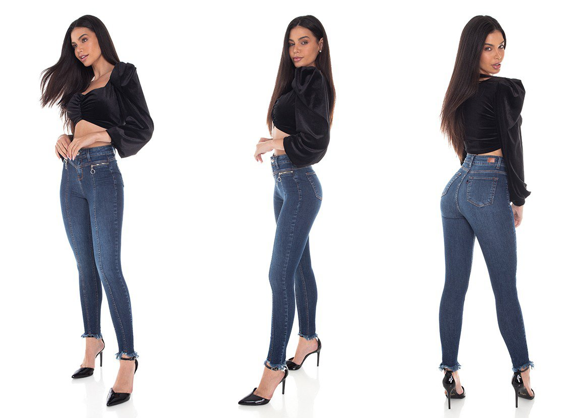 dz3404 calca jeans feminina skinny media cigarrete recorte frontal denim zero tripla