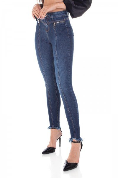 dz3404 calca jeans feminina skinny media cigarrete recorte frontal denim zero frente prox