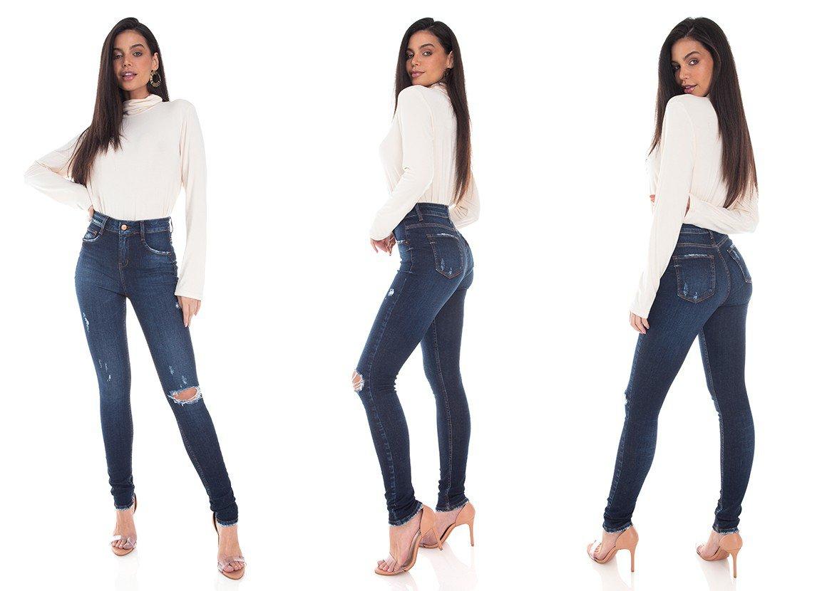 dz3399 calca jeans feminina skinny media cigarrete rasgo joelho denim zero tripla
