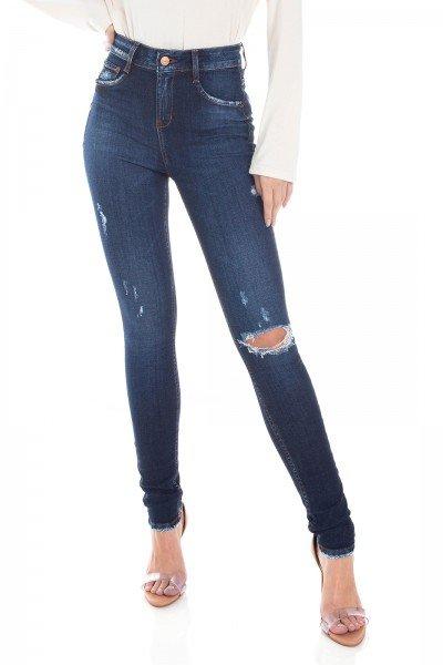 dz3399 calca jeans feminina skinny media cigarrete rasgo joelho denim zero frente prox