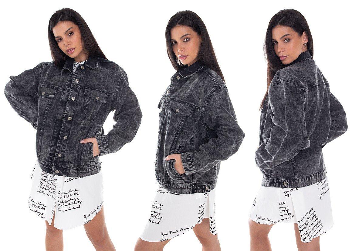 dz9115 jaqueta jeans feminina 80 s escura denim zero tripla