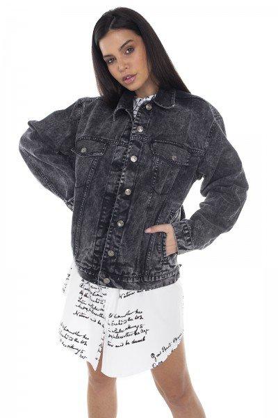 dz9115 jaqueta jeans feminina 80 s escura denim zero frente prox