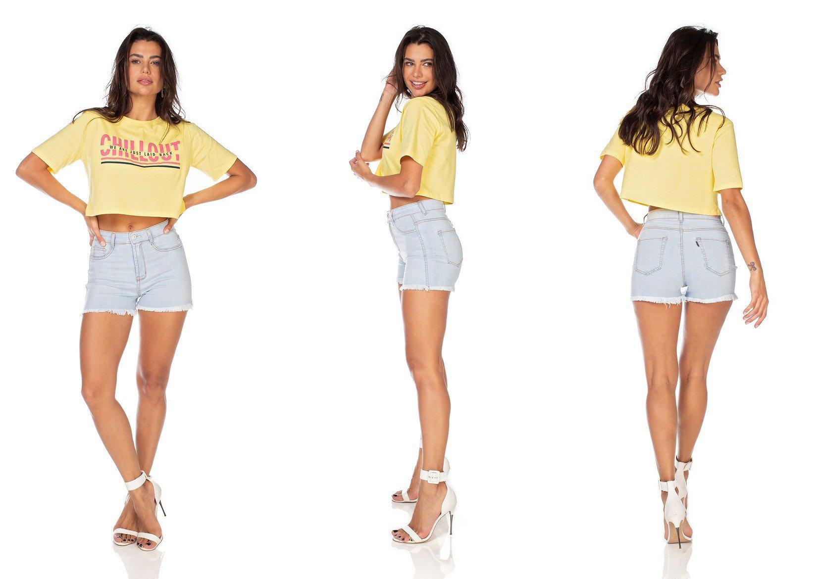 dz6336 shorts jeans feminino pin up barra desfiada denim zero tripla
