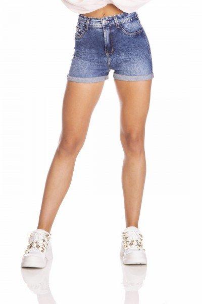 dz6379 shorts jeans feminino pin up barra dobrada denim zero frente prox