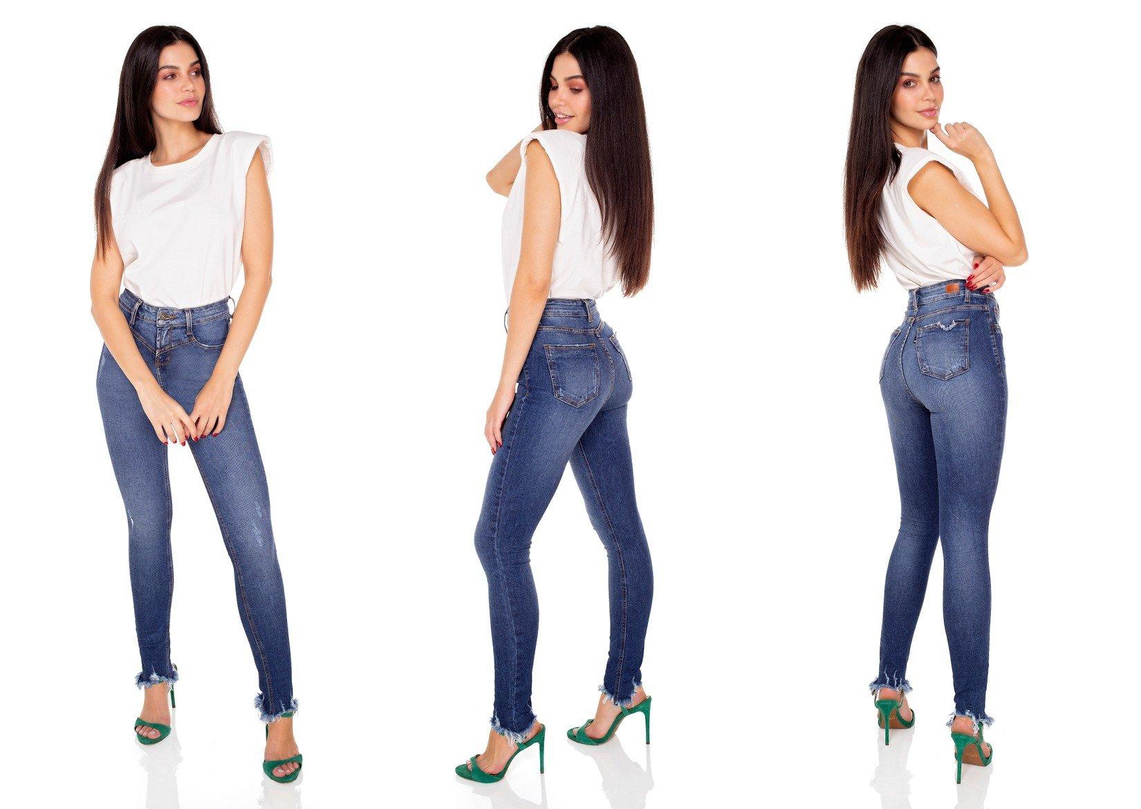 dz3427 calca jeans feminina skinny media recorte frontal denim zero tripla
