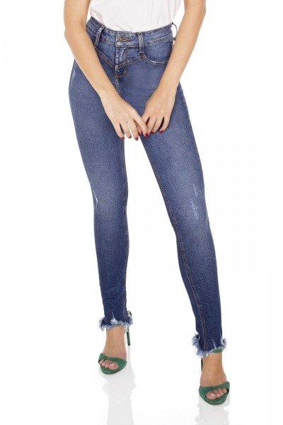 dz3427 calca jeans feminina skinny media recorte frontal denim zero frente prox