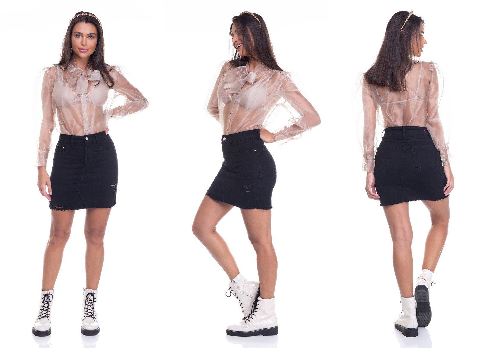 dz7154 saia jeans feminina tubinho black and white preto denim zero tripla