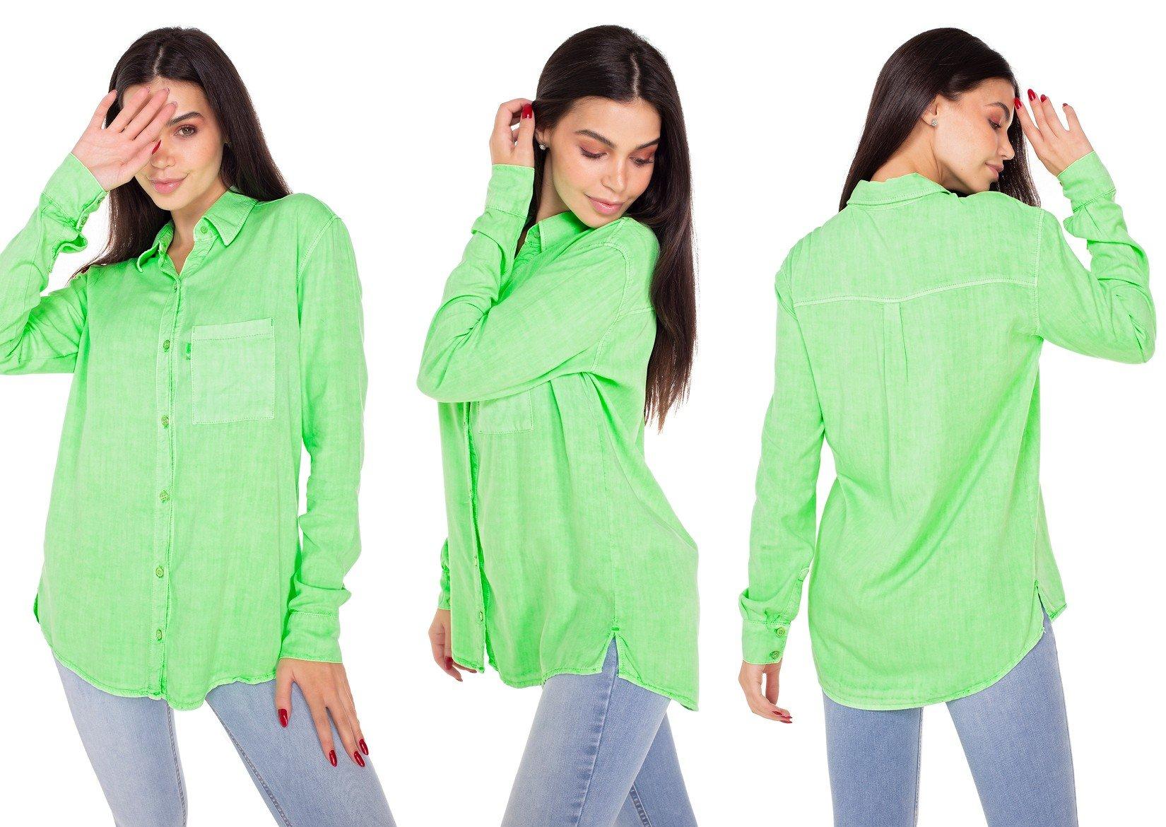 dz11149 camisa jeans feminina oversize colorida verde neon denim zero tripla