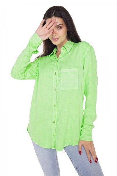 dz11149 camisa jeans feminina oversize colorida verde neon denim zero frente prox