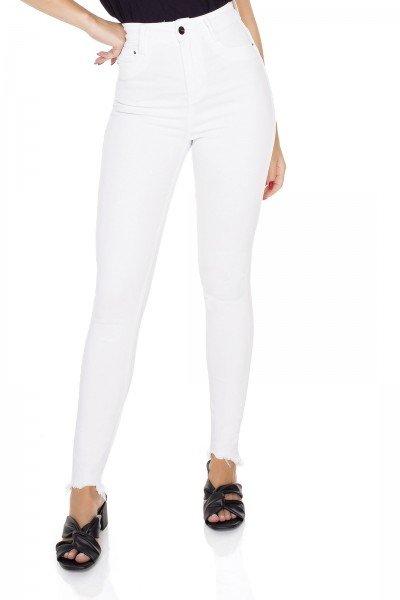 dz3553 calca jeans feminina skinny hot pants barra irregular black and white branca denim zero frente prox