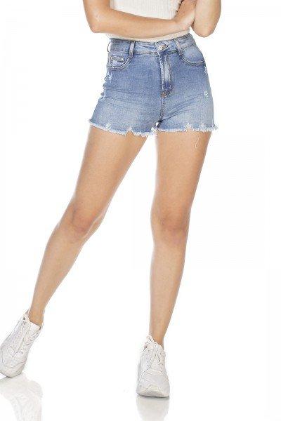 dz6351 shorts jeans feminino pin up barra desfiada denim zero frente prox