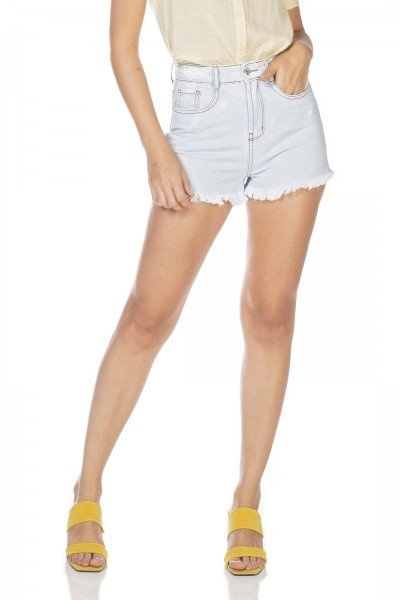 dz6366 shorts jeans feminino setentinha barra desfiada denim zero frente prox
