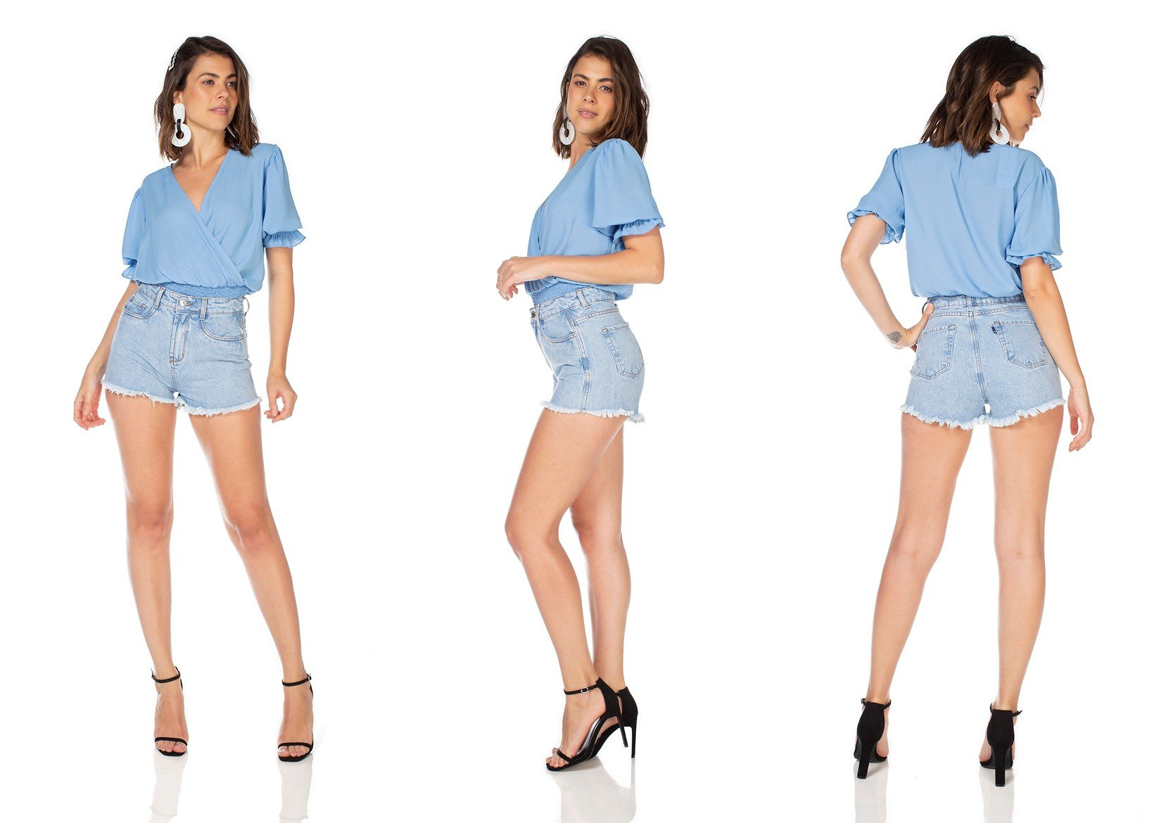 dz6365 shorts jeans feminino setetinha barra desfiada denim zero tripla