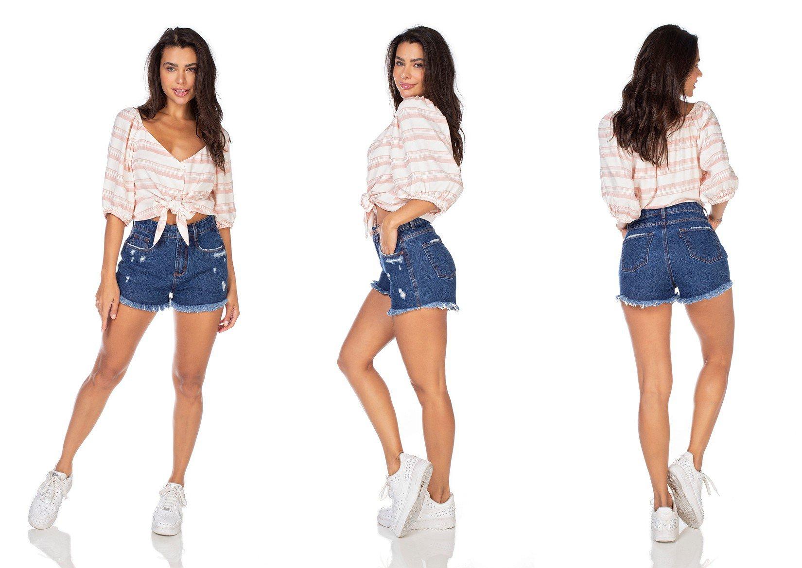 dz6370 shorts jeans feminino setentinha barra desfiada denim zero tripla