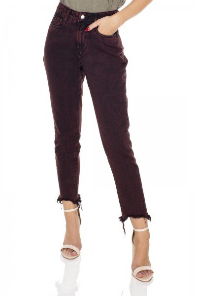 dz3446 calca jeans feminina mom vinho vintage denim zero frente prox