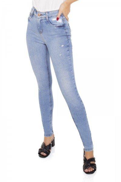 dz3395 calca jeans feminina skinny media cigarrete com puidos denim zero frente prox