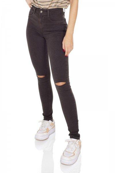 dz3418 calca jeans feminina skinny media colorida verde escuro denim zero frente prox
