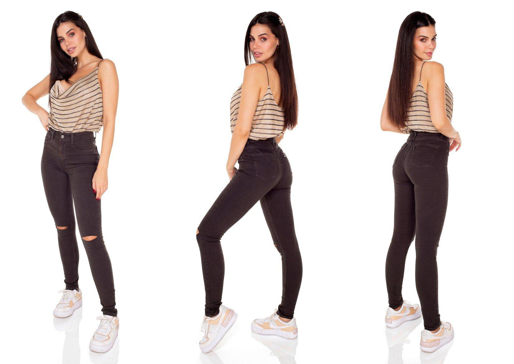 dz3418 calca jeans feminina skinny media colorida verde escuro denim zero tripla
