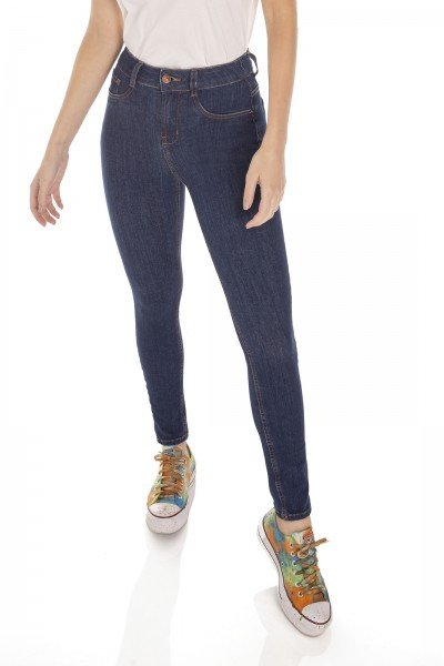 dz3146 calca jeans feminina skinny media cigarrete tradicional denim zero frente prox