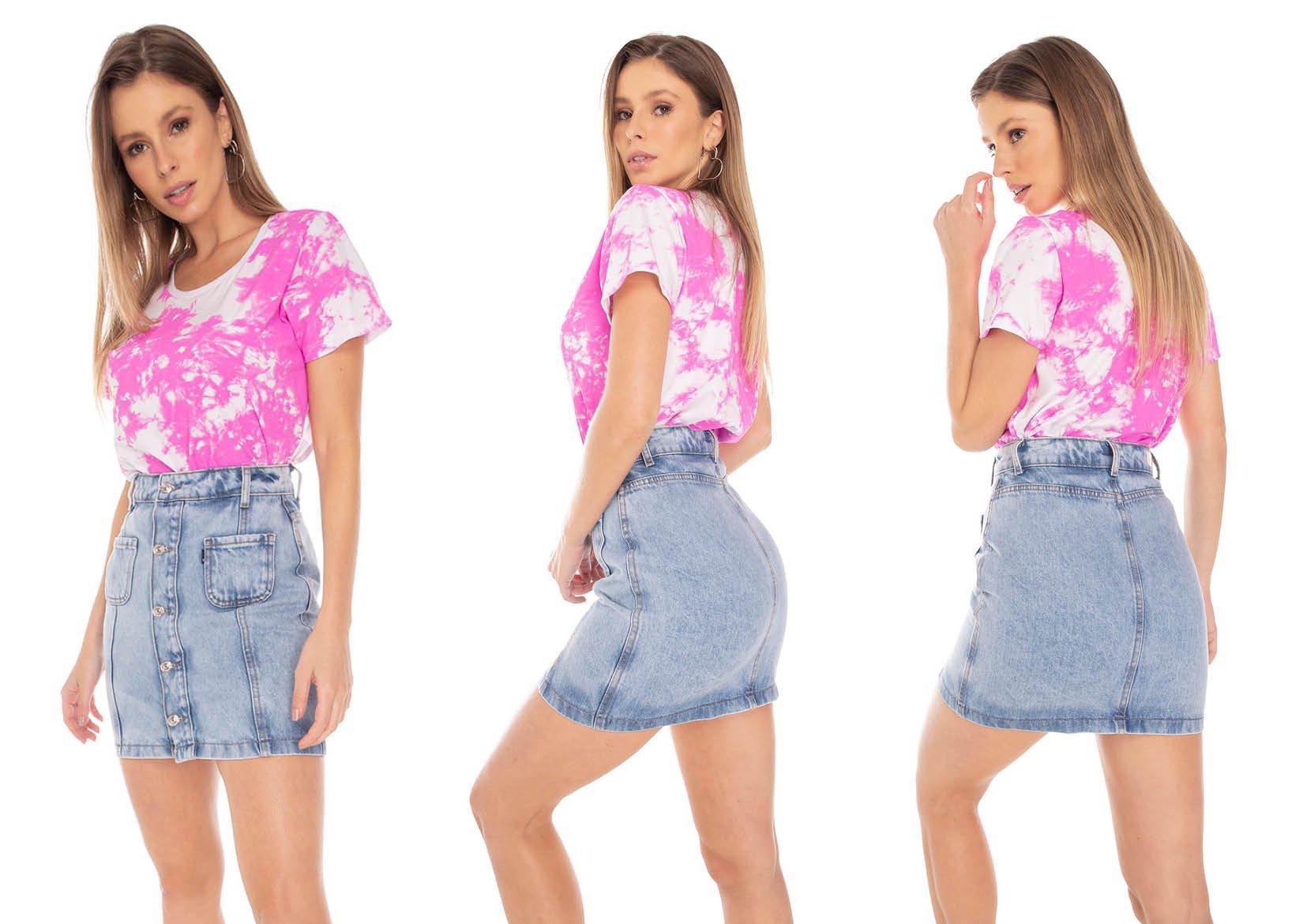 dz7149 saia jeans feminina regular bolsinhos frontais denim zero tripla