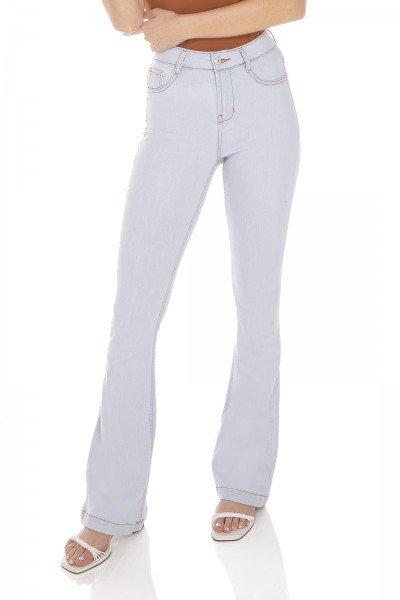 dz3413 calca jeans feminina flare media clarinha denim zero frente prox