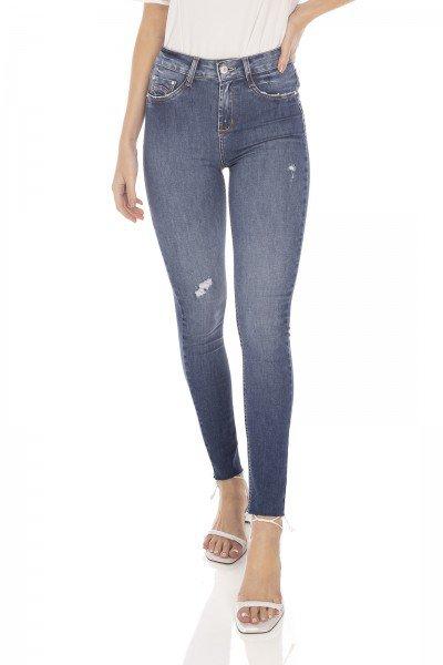 dz3436 calca jeans feminina skinny media cigarrete barra corte a fio denim zero frente prox