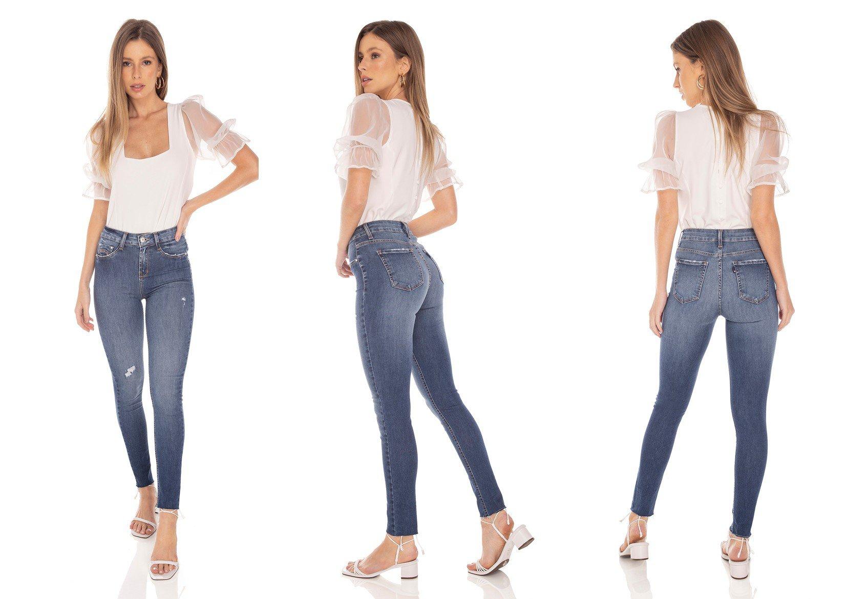 dz3436 calca jeans feminina skinny media cigarrete barra corte a fio denim zero tripla