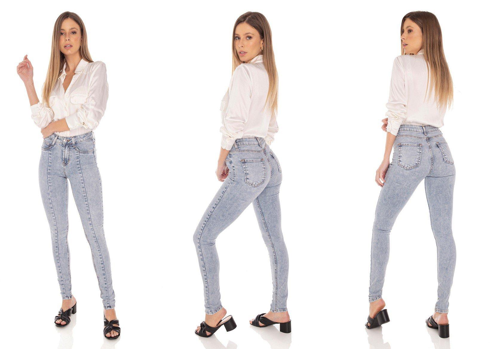 dz3497 calca jeans feminina skinny media recorte frontal denim zero tripla