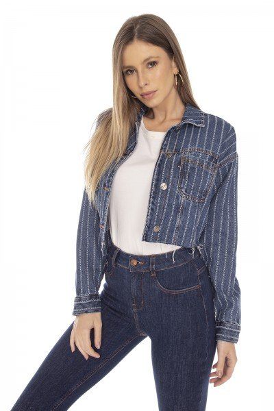 dz9121 jaqueta jeans feminina retro cropped listrada denim zero frente 03